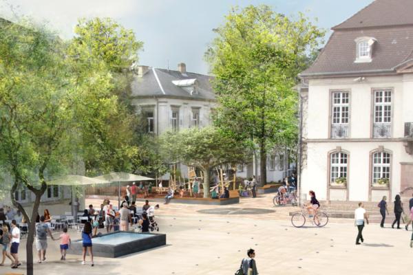 Les travaux de réaménagement se poursuivent                         Place de l'Hôtel de Ville