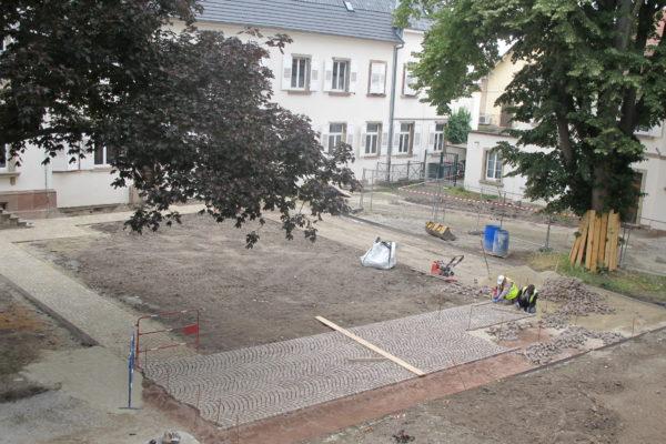 Avancement des travaux dans les jardins de l'Hôtel de Ville