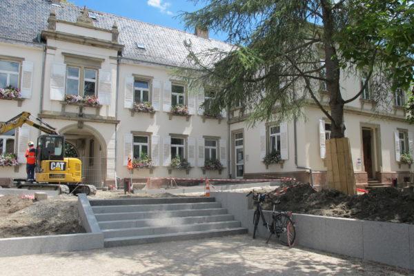 Avancement des travaux rue du Monastère et jardin de l'Hôtel de Ville