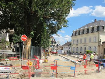 Avancement des travaux rue de Strasbourg, rue du Monastère et entrées de l'Annexe de la Mairie
