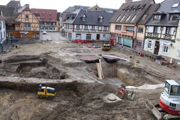 Avancement des travaux place de l'Hôtel de Ville et rue Jean-Georges Abry