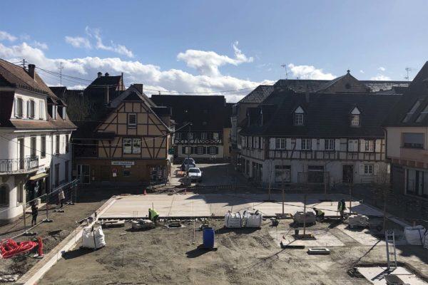 Les travaux d'aménagement se poursuivent place de l'Hôtel de Ville et au Carrefour de la Rue Mercière