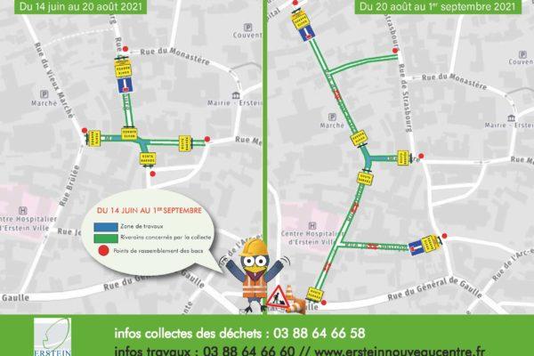 Ramassage des ordures ménagères Carrefours des rues Mercière, Strasbourg, Capitaine Da, Brûlée et Vieux Marché