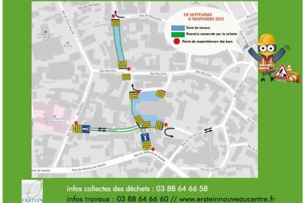 Ramassage des ordures ménagères rues de Strasbourg, Capitaine Da, Jean-Philippe Bapst et place Alphonse Hoch