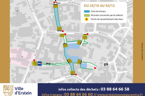 Ramassage des ordures ménagères rue de Strasbourg, aux abords de l'église Saint-Martin, Place Friedel et rue du Capitaine Da